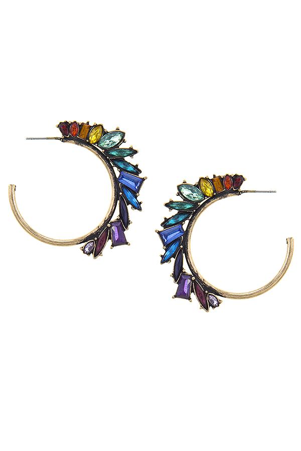 Rainbow rhinestone hoop earrings 2408 Edmonton