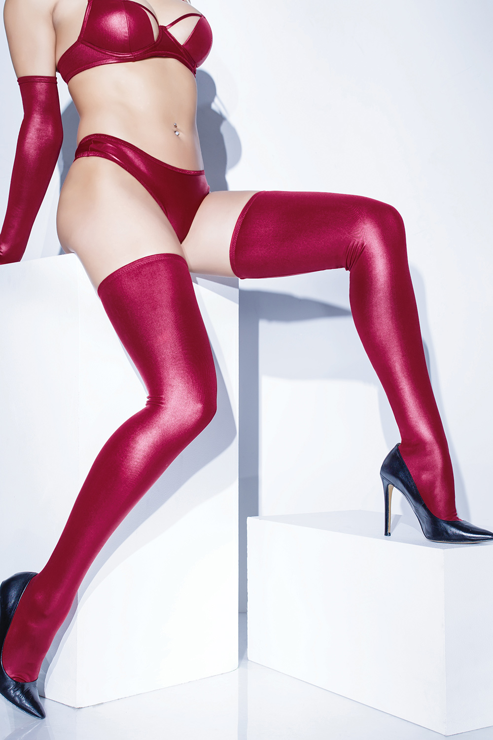 Matte wet look stay-up thigh high stockings 1880 Edmonton