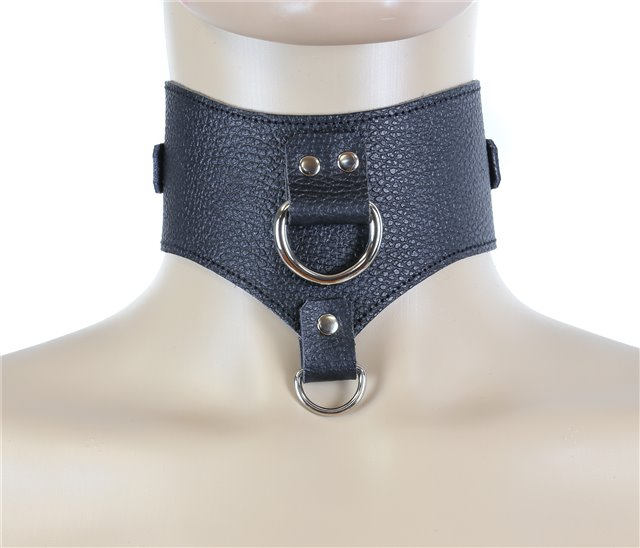 Black Leather Posture Collar Front D-Rings 0515b Edmonton