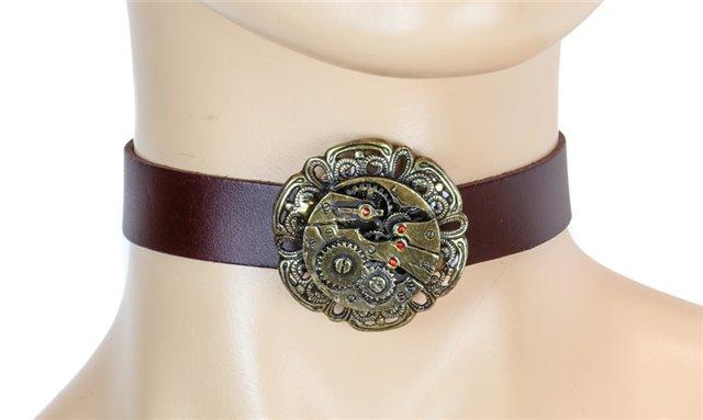 Brown Steampunk Choker Collar 3750br Edmonton