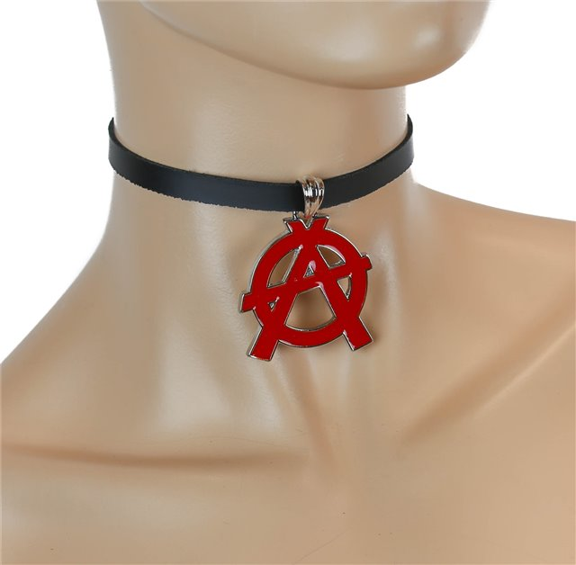 Red Anarchy Symbol Black Collar 0299 Edmonton