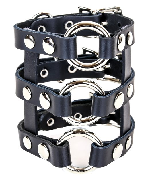 Black Leather 3 Row Cuff O-Rings Buckles 0117 Edmonton