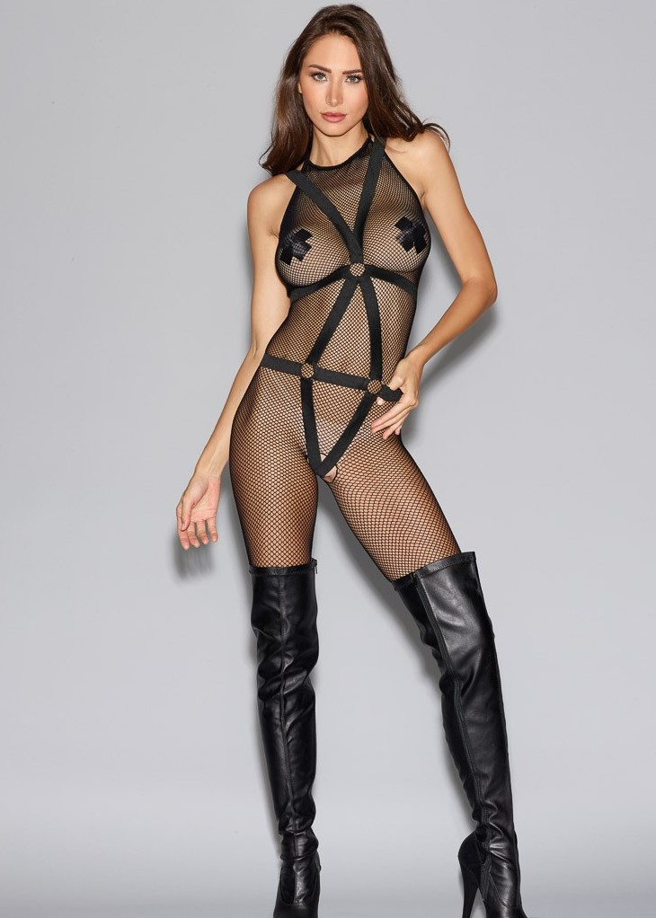 2-piece halter fishnet bodystocking seperate elastic body harness 0291 Edmonton