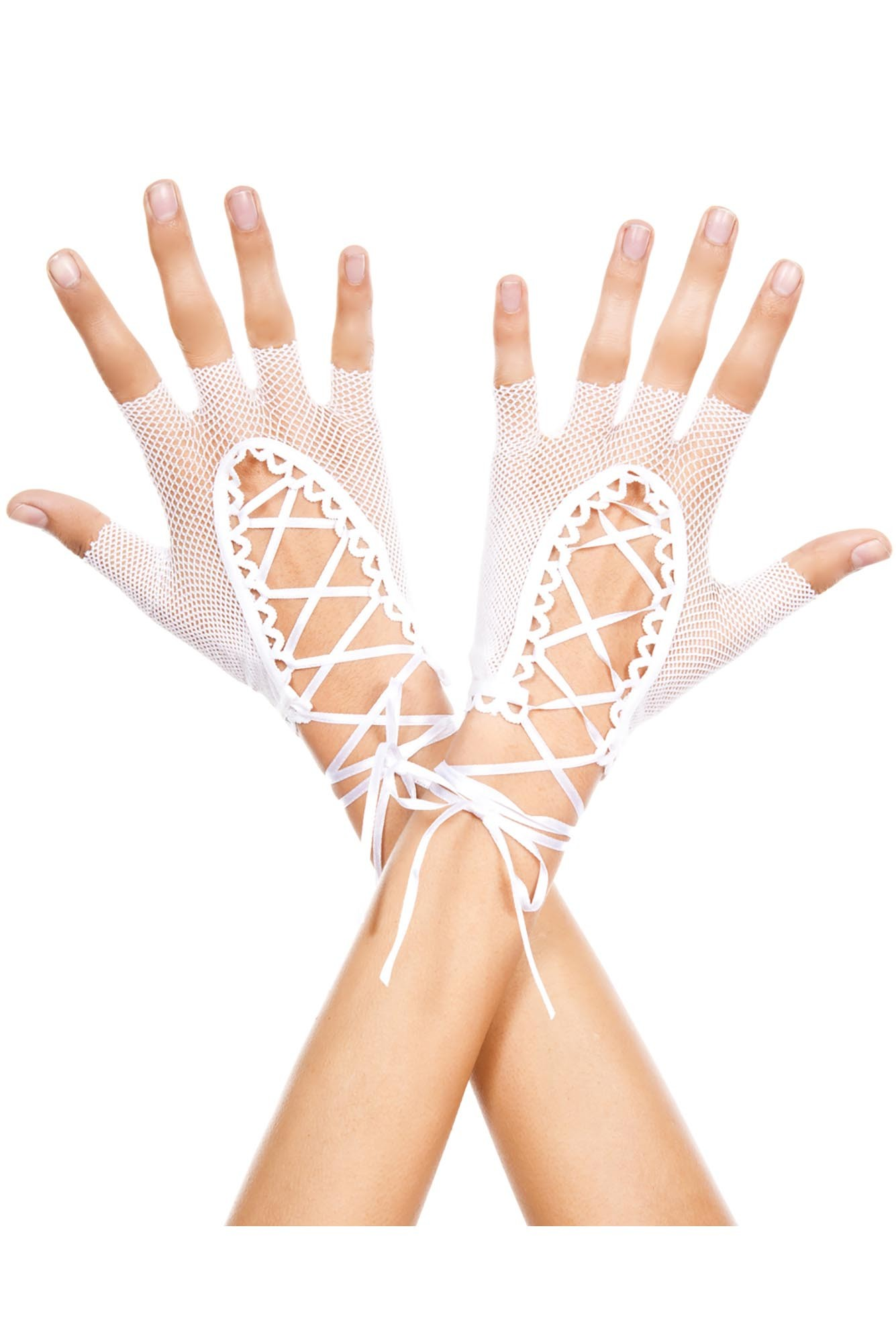 White Wrist Length Lace-up Gloves Fishnet Fingerless 0413 Edmonton