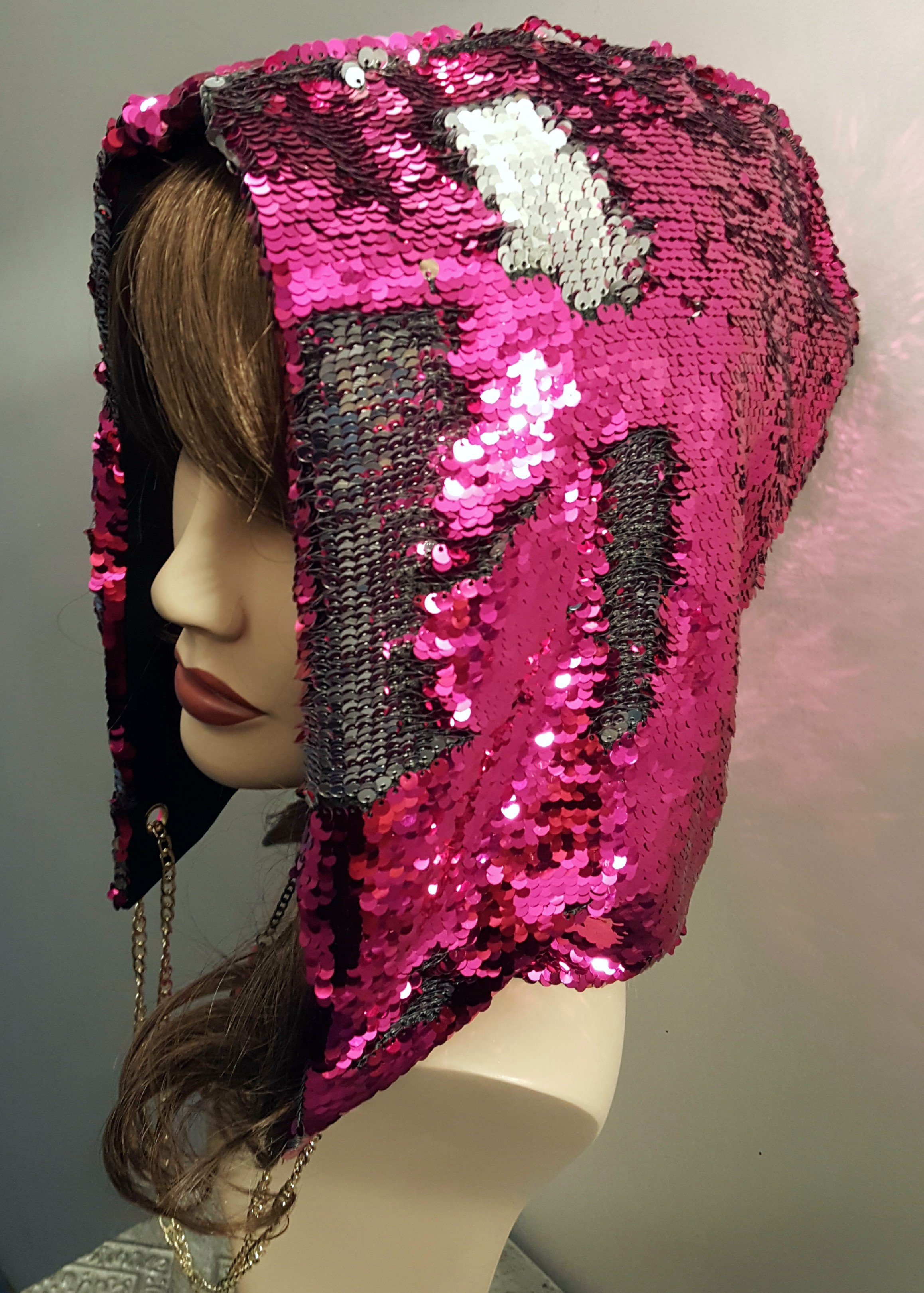 Assassin's hood in 2 way sequins pink and black 1942 Edmonton