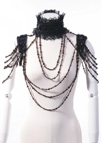 Amazing draped necklace draped beads collar sleeve caps black 60112 Edmonton