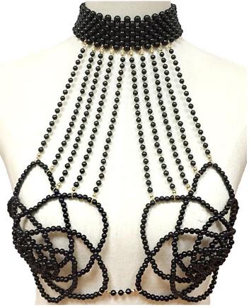Pearl rose bra body chain attached choker 6024 Edmonton