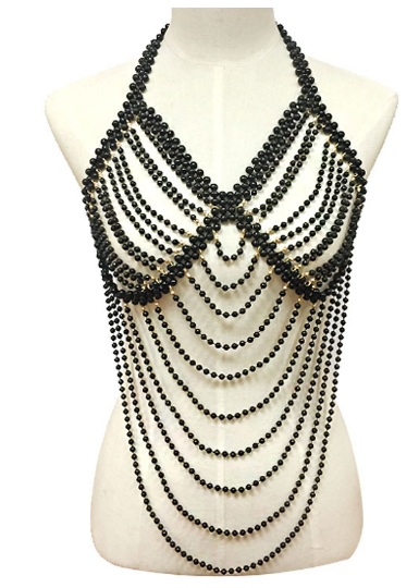 Faux pearl draped body chain black 6017 Edmonton