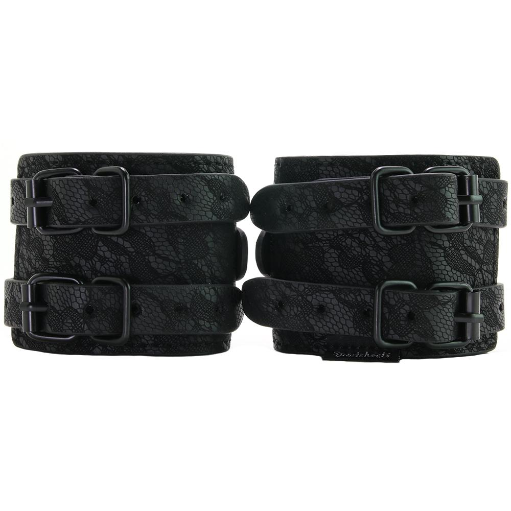 Faux leather cuffs lace overlay double adjustable buckles Includes double ended snap chain 52018 Edmonton