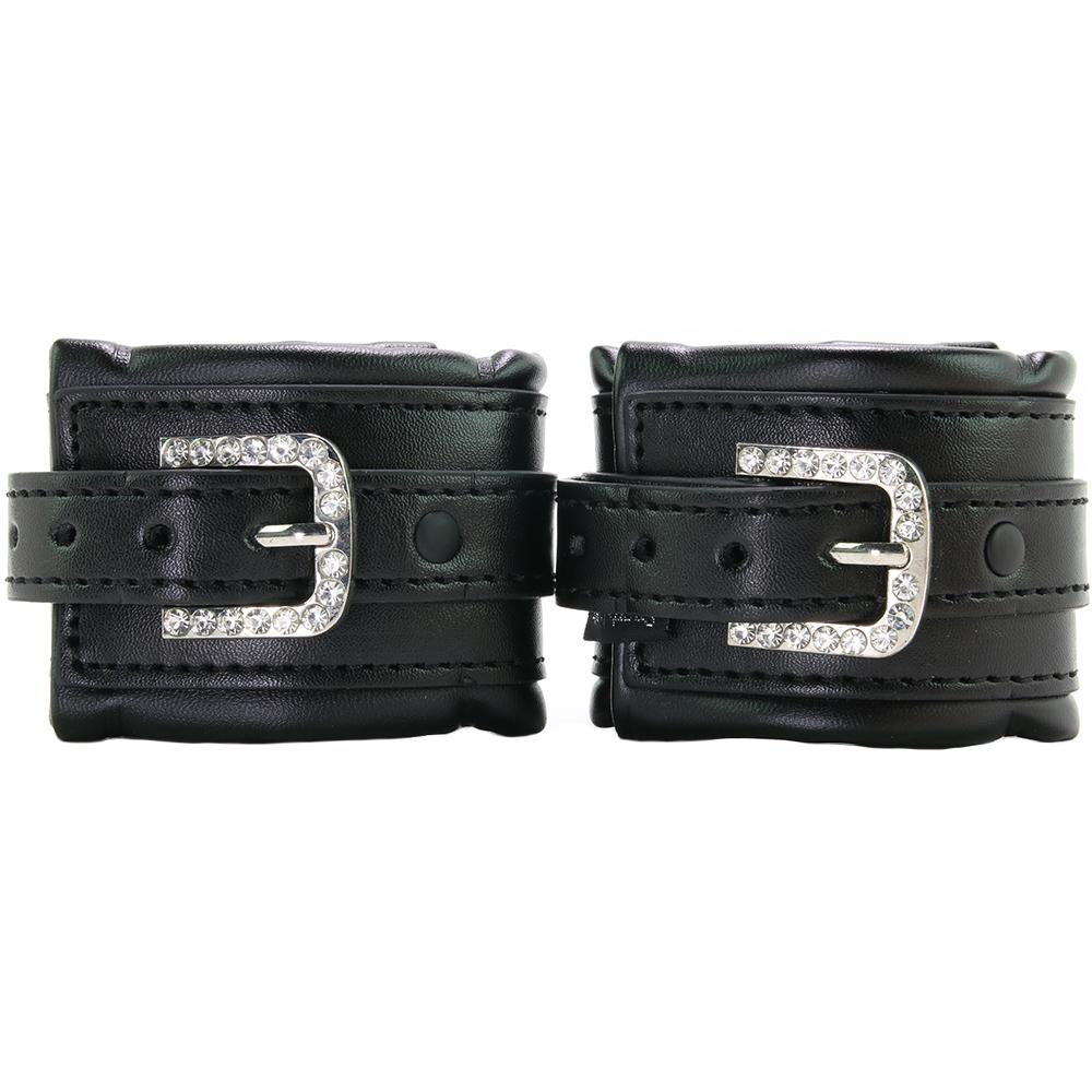 Faux Leather Cuffs Adjustable Rhinestone Buckles 9987 Edmonton