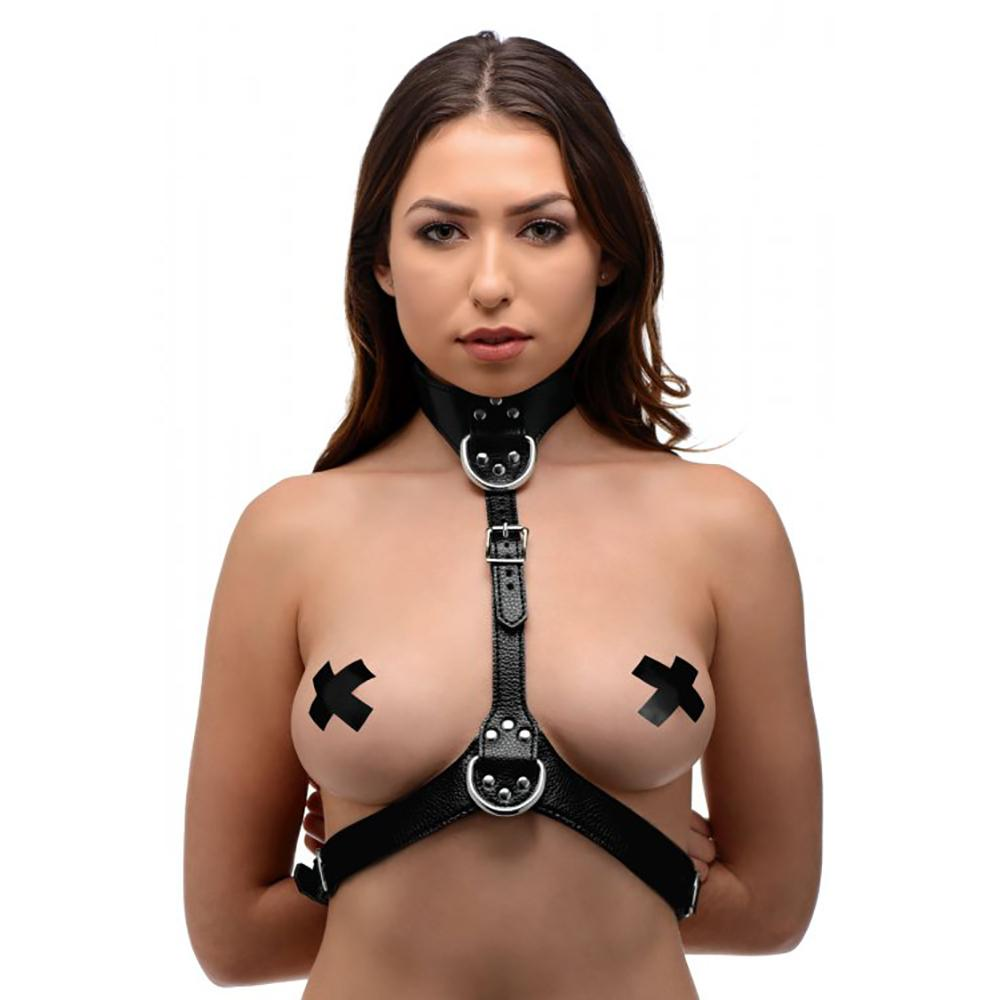 Black Faux Leather Harness D-Rings 0494 Edmonton