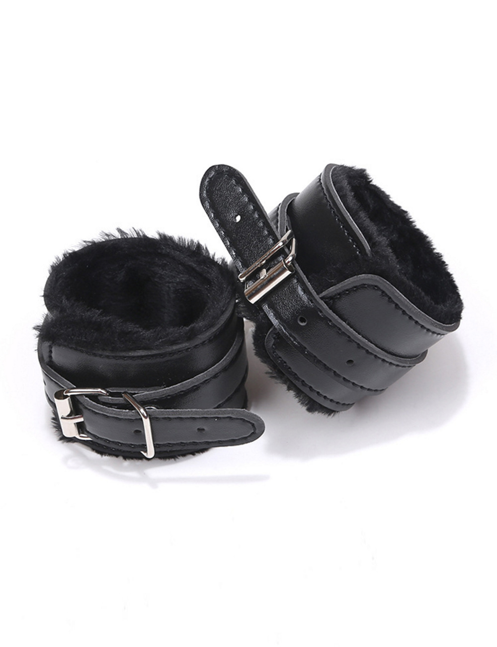 Black Faux Leather Cuffs Faux Fur Lined 80726 Edmonton
