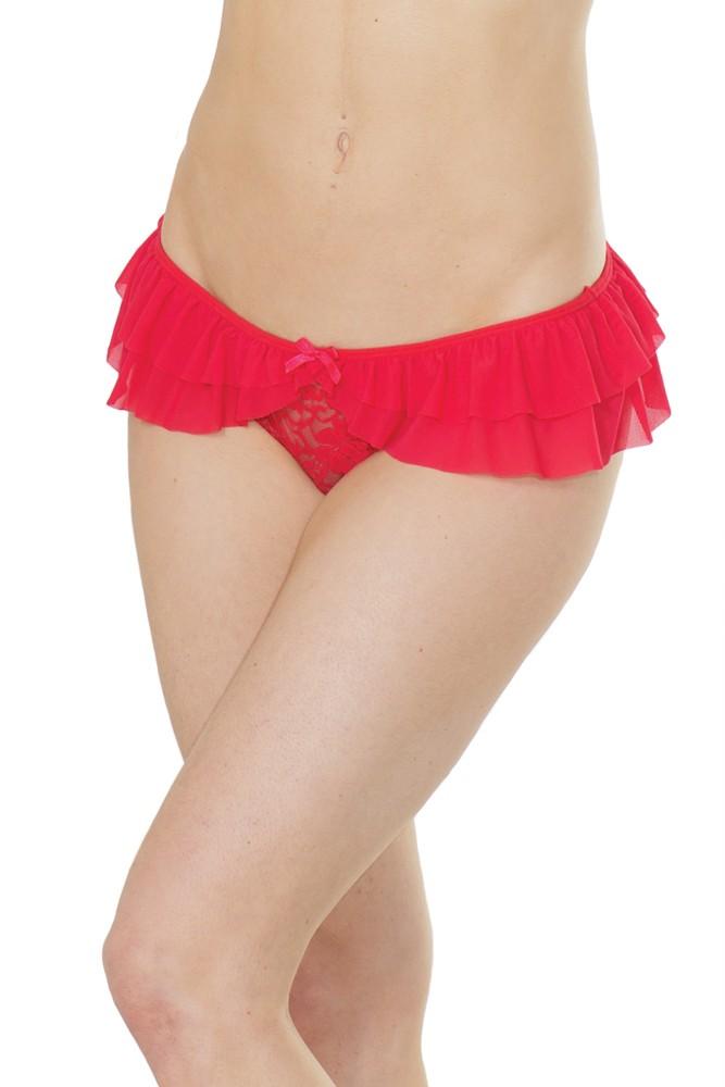 Crotchless lace thong ruffled mesh 0374 Edmonton