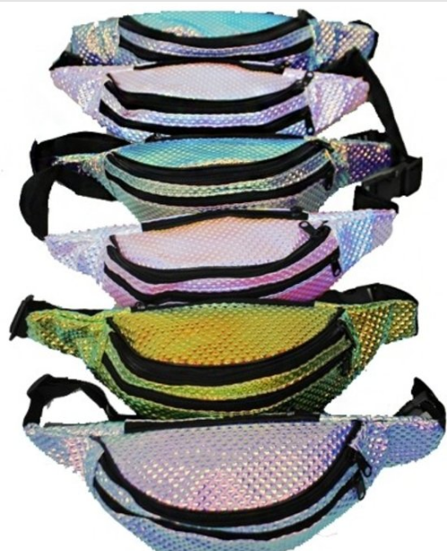 Holographic Fanny Pack 2 zippers Adjustable 0526 Edmonton