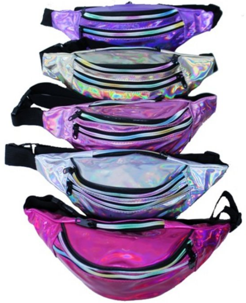 Holographic Fanny Pack Double Zippers Assorted Colors 1168 Edmonton