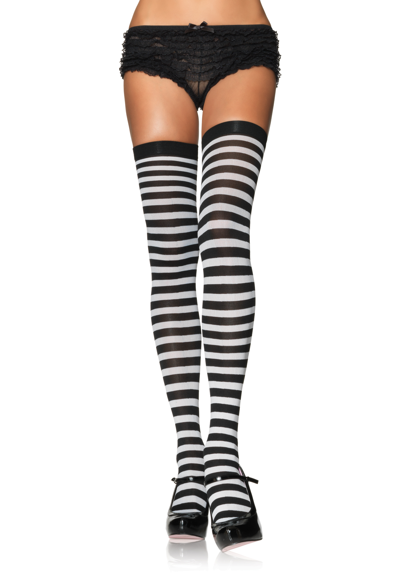 Black White Stripe Stockings Edmonton