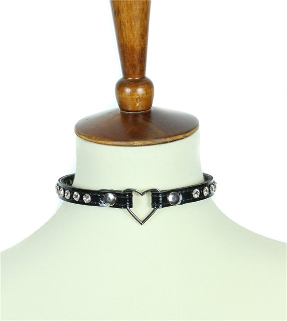 Black patent clear crystal center heart ring collar choker 0682 Edmonton