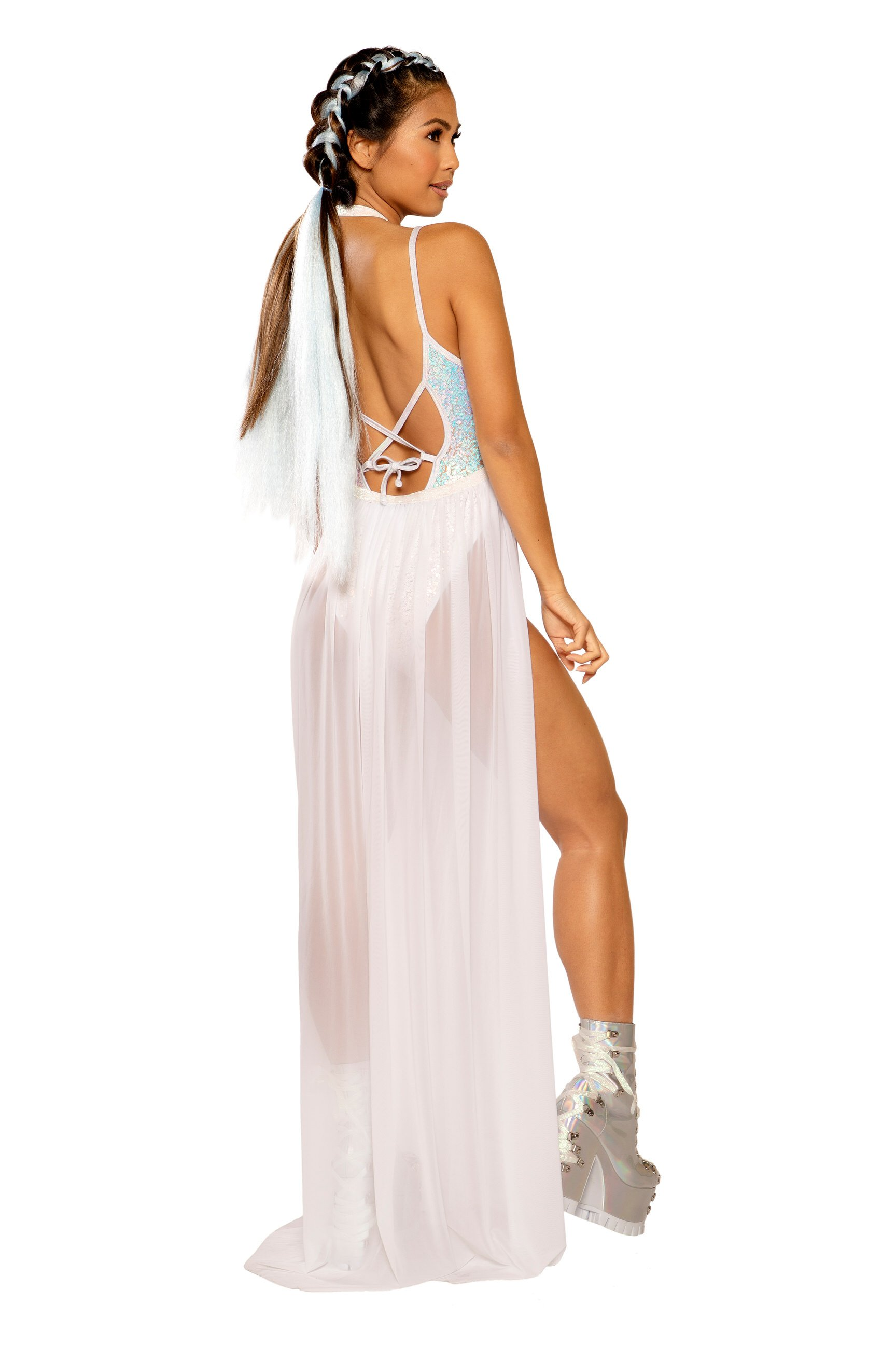 Long White Mesh Skirt Sparkly Harness 0146 Edmonton
