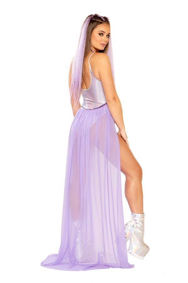 Long Purple Mesh Skirt Sparkly Harness 0146 Edmonton