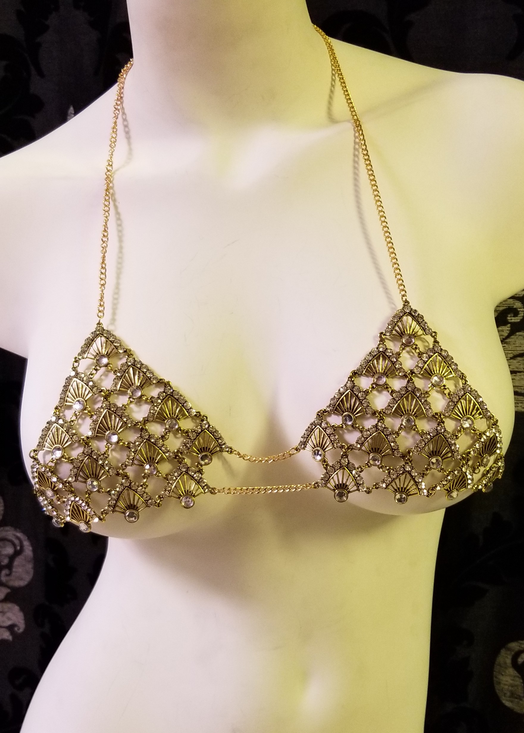 Rhinestone bra adjustable back gold 0798 Edmonton
