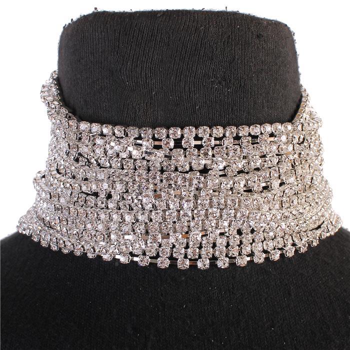 Layered rhinestone collar silver and clear 166093 Edmonton
