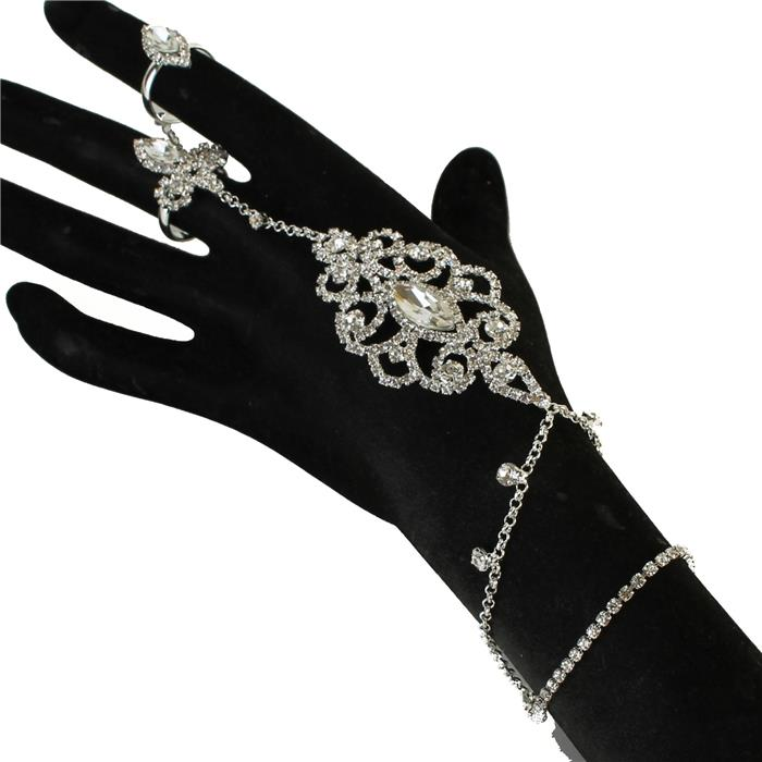Sparkling rhinestone silver slave bracelet 171181 Edmonton