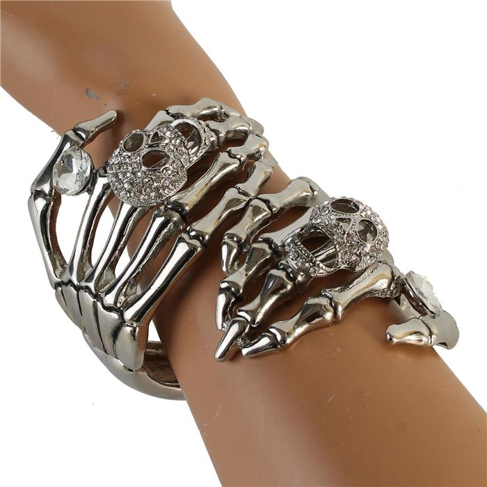 Silver skeleton hand rhinestone bracelet 171822 Edmonton
