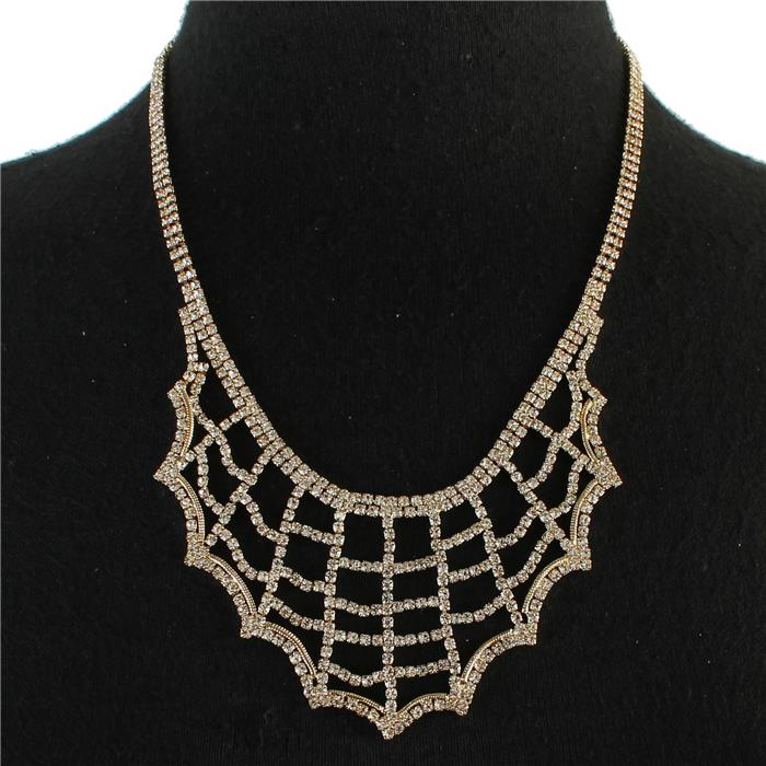 Gold tone spiderweb rhinestone necklace 168098 Edmonton