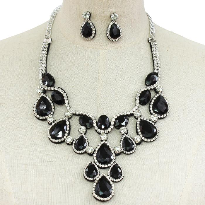 Black sparkling rhinestone necklace matching earrings 152163 Edmonton