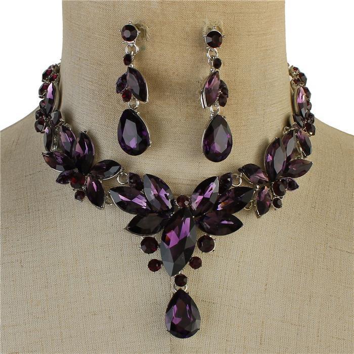 Purple sparkling rhinestone necklace 170009 Edmonton