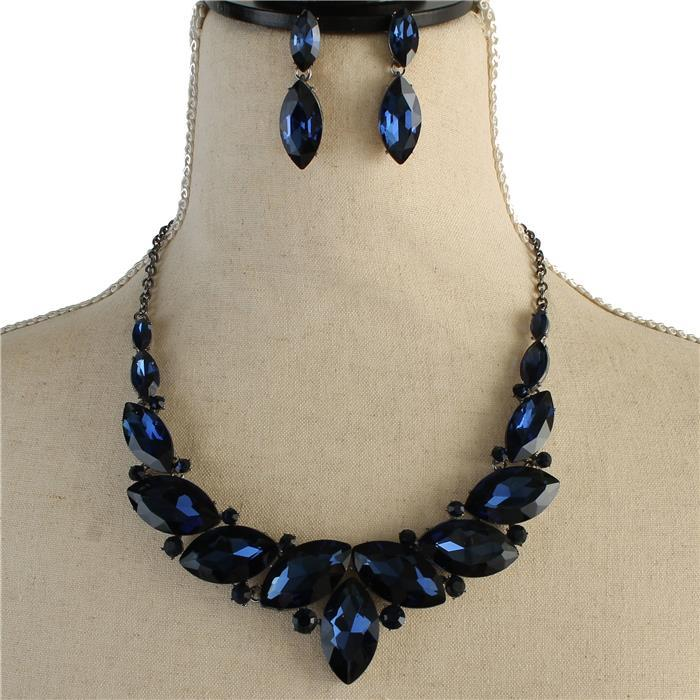 Sparkling blue rhinestone necklace matching earring included 171546 Edmonton