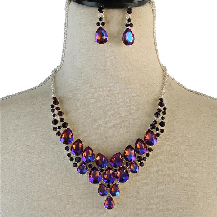 Sparkling purple rhinestone necklace matching earring included 174081 Edmonton