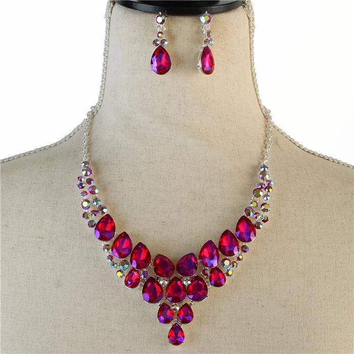 Sparkling red rhinestone necklace 174081 Edmonton