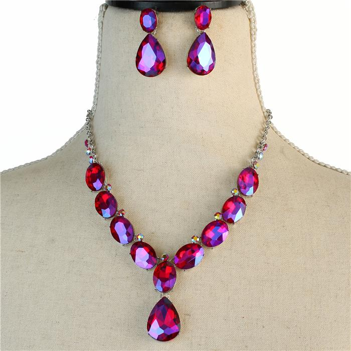 Sparkling red rhinestone necklace matching earrings 173470 Edmonton