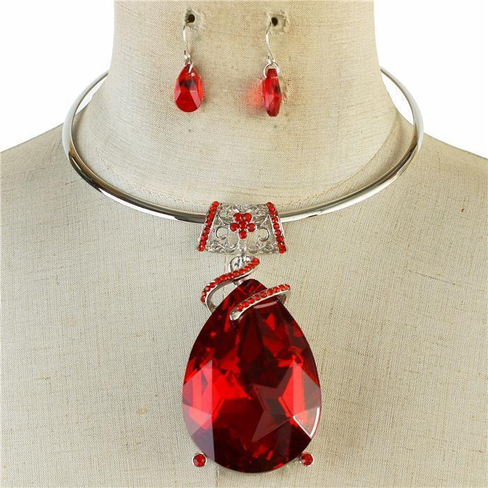 Sparkling rhinestone necklace red gem matching earrings 140547 Edmonton