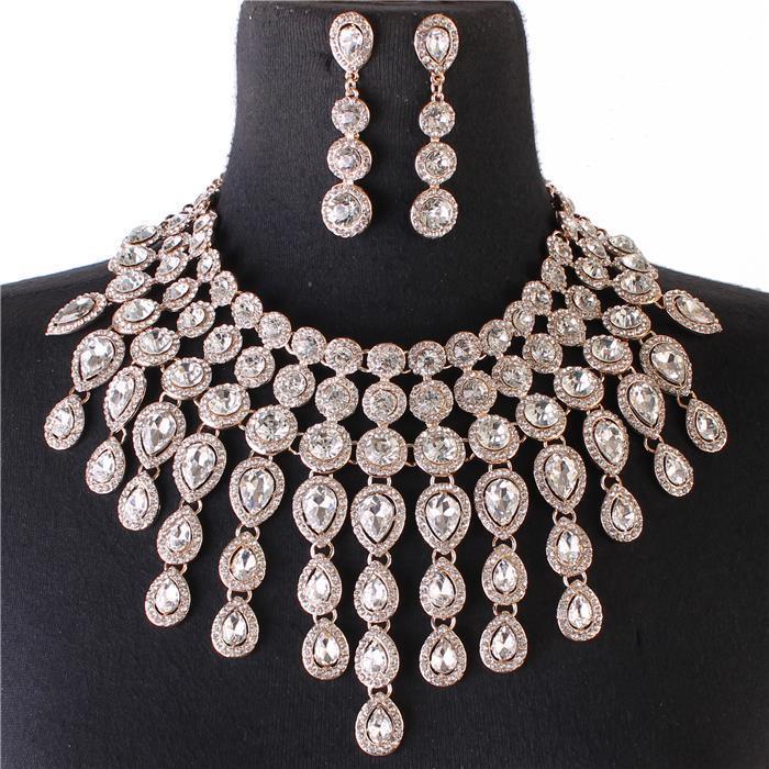 Sparkling gold rhinestone necklace 159995 Edmonton