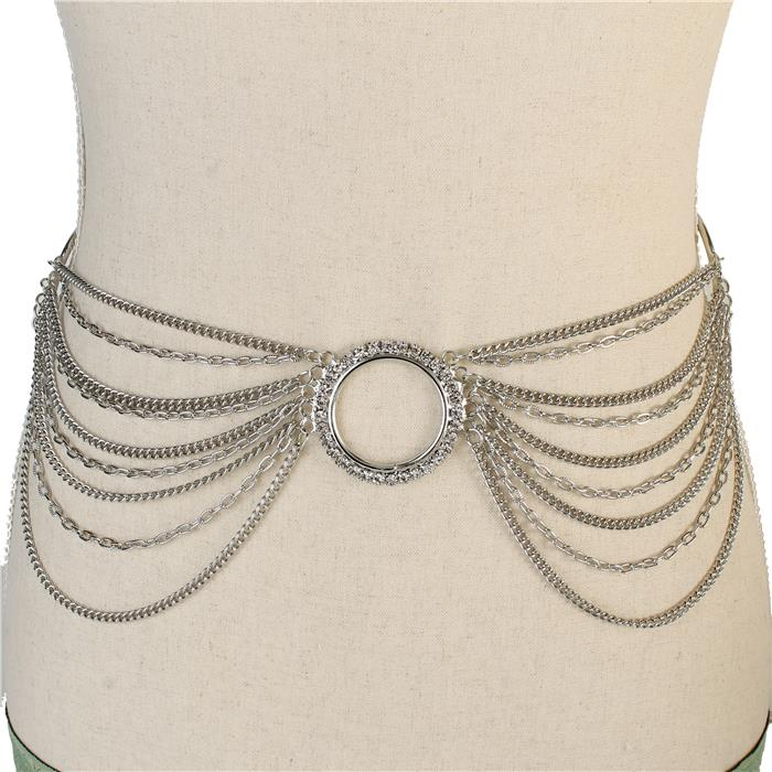 Draped chain waist chain rhinestone accents silver 171579 Edmonton