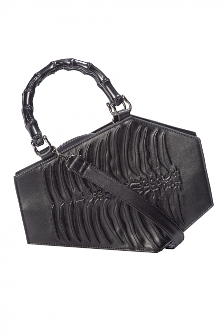 Black Pleather Coffin Ribcage Purse 4033 Edmonton