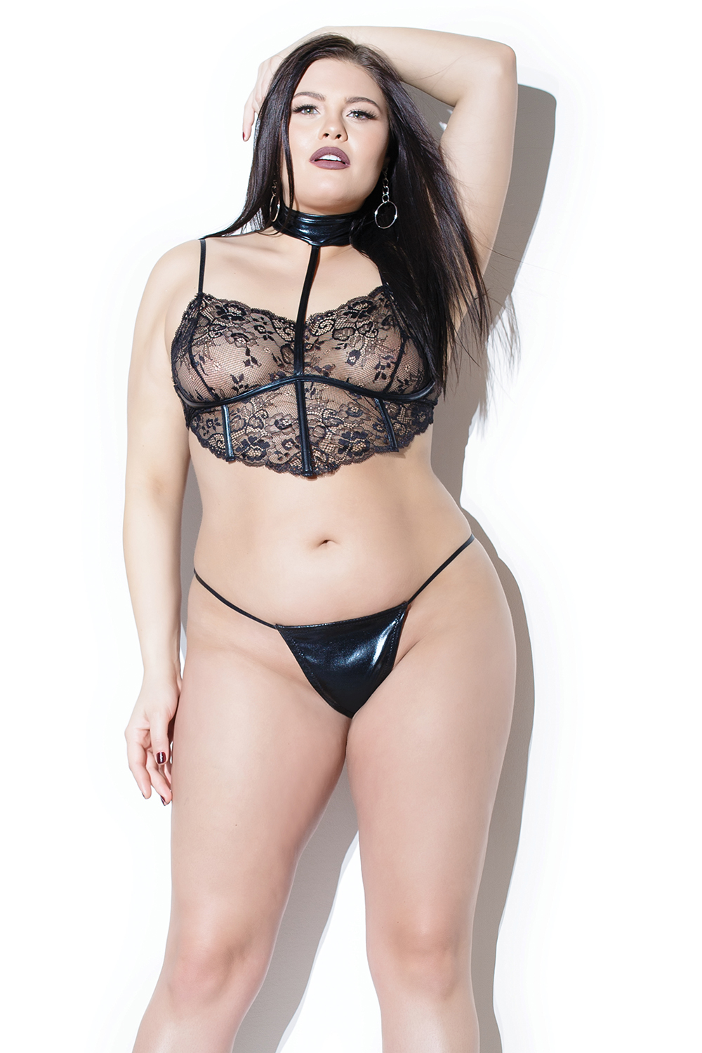 2-piece set black lace wetlook bralette gstring 9376 Edmonton