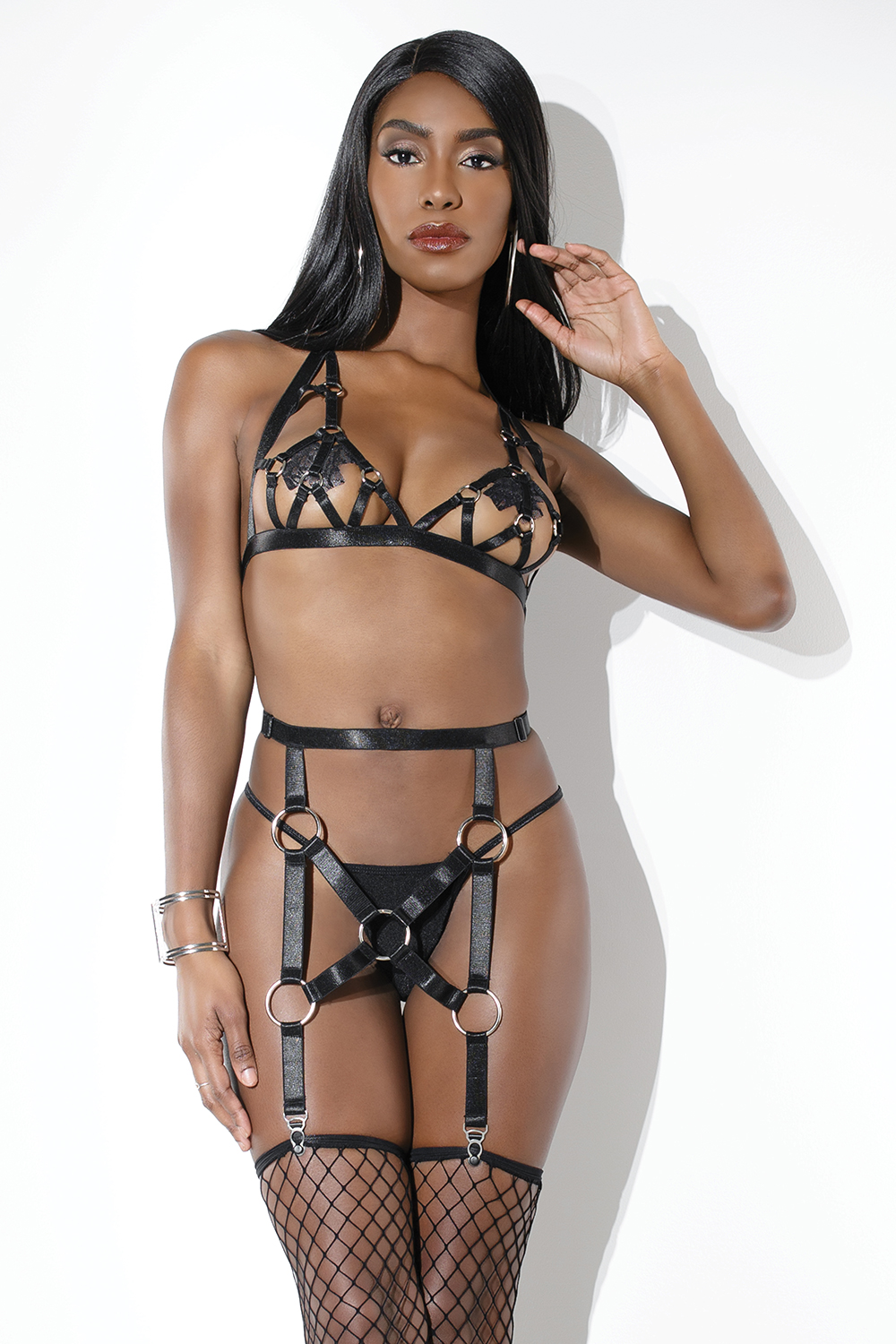 2-piece elastic harness set bra garter belt 9373 Edmonton