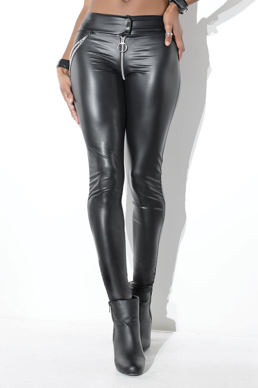 High waisted wetlook pants 9380 Edmonton
