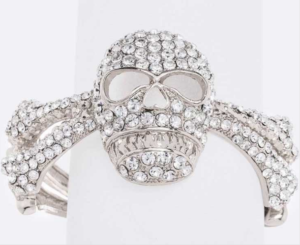 Skull rhinestone bracelet silver 3931 Edmonton