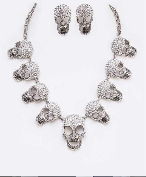 Silver rhinestone skull necklace 13574 Edmonton
