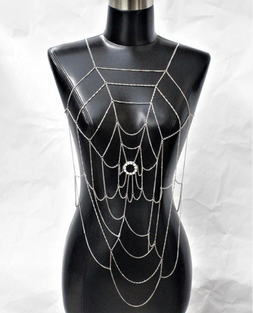 Unique spiderweb body chain rhinestone center 7728 Edmonton