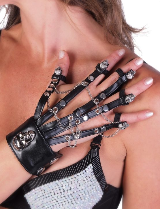 Single Cuff Attached Fingers Skull Studs Chains 5557 Edmonton
