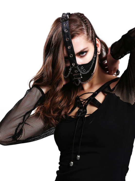Black Faux Leather Face mask Chains 12021 Edmonton