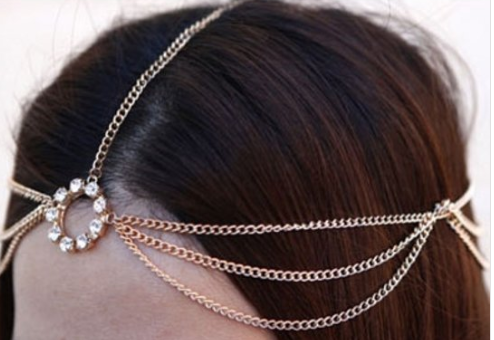 Pretty draped head chain gold 7303 Edmonton