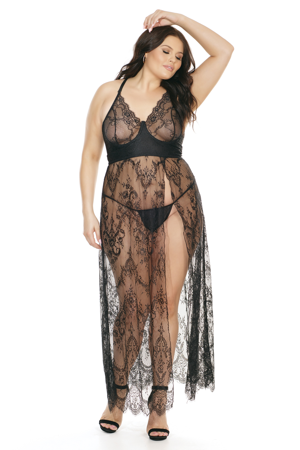 lace gown underwire cups high side slit 7216 Edmonton