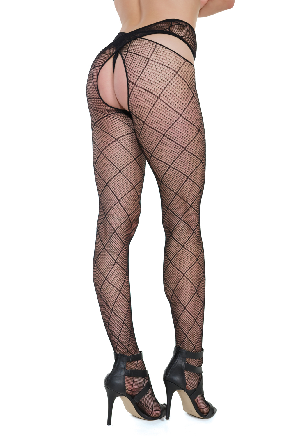 Seamless diamond net stockings criss-cross waist design 7259 Edmonton