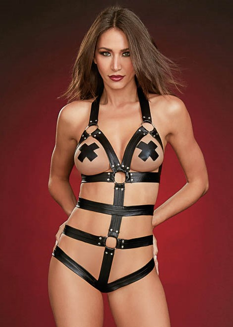 Strappy faux leather teddy o-rings studs 11868 Edmonton